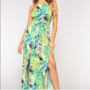 NEW green tropical print maxi dress XS